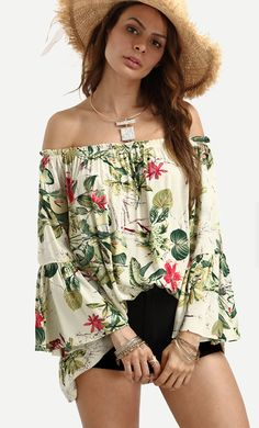 d8ce370ace Shop Off The Shoulder Bell Sleeve Floral Print Top online. SheIn offers Off  The Shoulder Bell Sleeve Floral Print Top   more to fit your fashionable  needs.