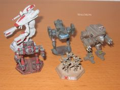 Clan mechs I painted in the '90s.