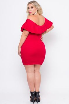 Plus Size Frill Bodycon Dress - Red - Curvy Sense Red Bodycon Dress 0f81cdb146b6