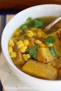 Sopa de Pollo y Plátano Verde (Chicken and Green Plantain Soup) : latin Plantain Soup, Plantain Recipes, Easy Cooking, Cooking Recipes, Honduran Recipes, Colombian Cuisine, Boricua Recipes, Healthy Snacks, Healthy Recipes