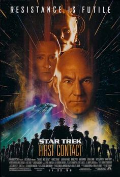 Star Trek: First Contact  (1996) Directed by Jonathan Frakes.  With Patrick Stewart, Jonathan Frakes, Brent Spiner, LeVar Burton. Captain Picard and his crew pursue the Borg back in time to stop them from preventing Earth's first contact with an alien species. They also make sure that Zefram Cochrane makes his famous maiden flight at warp speed.