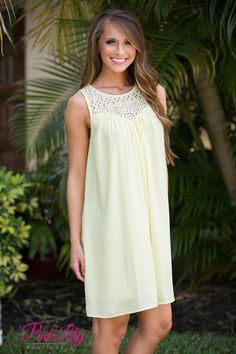 This sweet sunshine yellow dress is such a summer essential! It's perfect for a day of shopping with the girls, a walk on the beach, or relaxing in the backyard! It features a gorgeous bodice with lace eyelets and a scoopneck, a keyhole cutout in back, and flowing, lightweight fabric that will keep you cool all summer long.