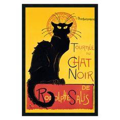 Tournee du Chat Noir (Yellow) Framed Wall Art by Theophile Alexandre Steinlen - 25.41W x 37.41H in. - DSW01363