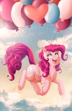 "Pie in the Sky by dennybutt.deviantart.com on @deviantART Pinkie Pie and balloons, inspired by Friendship is Magic episode ""Gilda the Brush Off""."