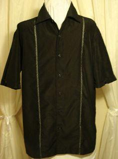 Retro 50's Style Black Embroidered Diamond Rockabilly Lounge Shirt Mens M