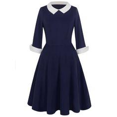 Vintage Peter Pan Collar Two Tone Dress - Purplish Blue L