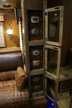 buckle case in horse trailer- pretty neat. Yes! Get some of these buckles out of my house!!
