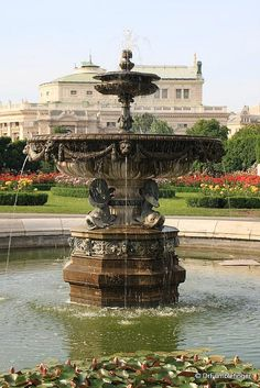 Vienna -- Fountain in Rose Garden of Volksgarten, Vienna, Austria travel photo
