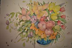 Preludio de primavera / 55 x 75 cm Watercolor Watercolors, Watercolor Art, Flowers, Painting, Water Colors, Spring, Watercolor Painting, Painting Art, Watercolor Paintings