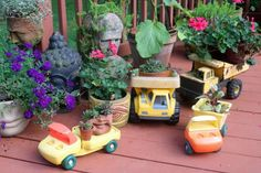 Turn old toys into patio planters. Find more ideas for upcycling household junk into unique garden containers >> http://www.diynetwork.com/how-to/outdoors/gardening/12-unusual-and-upcycled-container-gardens-pictures?soc=pinterest