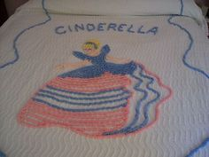 Vintage CINDERELLA CHENILLE BEDSPREAD Sweet---this is what my mom made sure that I had on my bed in the late '60's and I now have in my closet....such fond memories :)