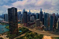 Aerial photo of Lake Point Tower and Lake Shore Drive in Chicago, Illinois.