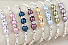 Swarovski Pearl Bracelets with Rhinestone Rondelles