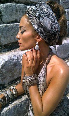 Jennifer Lopez- a bit overkill but love the bracelets