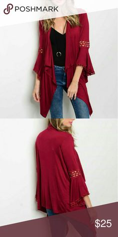 🆕Burgundy Cardigan Gorgeous accent jersey cardigan features 3/4 bell sleeves, lace trim, and an open front design. Lightweight and soft materials. Hi lo design.  Fabric Content: 97% RAYON 3% SPANDEX  Fit: Loose, Stretchy Sweaters Cardigans