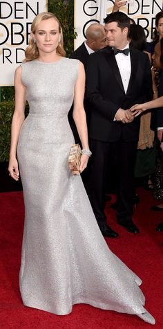 Golden Globes 2015: Red Carpet Arrivals -  Diane Kruger in Emilia Wickstead and Harry Winston jewelry #InStyle