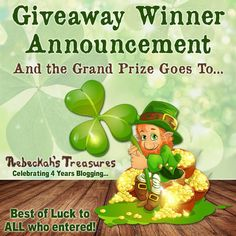 Lucky Sweepstakes Giveaway Winner Announcement 2017 via @beckastreasures