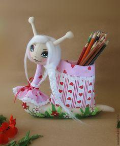Купить Улитка. Игрушка текстильная. Улитка - Краса, длинная коса - розовый, белый, сердечки