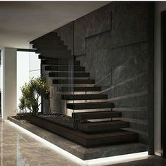 By Demirhan Gurman Via: by architecture_hunter Home Stairs Design, Interior Stairs, Home Room Design, Modern House Design, Home Interior Design, Luxury Interior, Modern Stairs Design, Interior Office, House Staircase