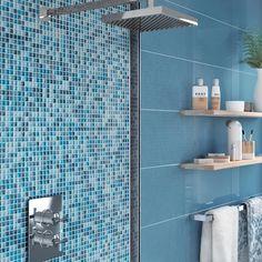 Prezzo, Bathtub, Bathroom, Leroy Merlin, Products, Mosaics, Wall, Blue, Room