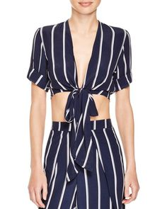 Faithfull the Brand Tie Front Striped Top