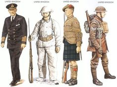 World War II Uniforms - United Kingdom – 1940 Jan., Great Britain, Captain, Home Fleet United Kingdom – 1940 Jan., Maginot Line, Private, The East Yorkshire Regiment United Kingdom – 1940 May., France, Lance-Corporal, 4th Inf. Division United Kingdom – 1940 Sep., Pirbright, Sergeant, Welsh Guards