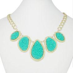 10% OFF Aquamarine Seafoam Druzy Necklace, Turquoise Drop Necklace, Statement Necklace, Bib Necklace, Summer Jewelry-128566751