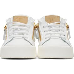 Giuseppe Zanotti White Leather London Sneakers ($650) ❤ liked on Polyvore featuring shoes, sneakers, white leather trainers, lace up sneakers, zipper sneakers, white low top sneakers and zip sneakers