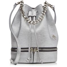 Manu Atelier Zeal Embossed Leather Bucket Bag (8.440 CZK) ❤ liked on Polyvore featuring bags, handbags, shoulder bags, silver, leather satchel, genuine leather shoulder bag, leather satchel handbags, shoulder strap bag and handle satchel