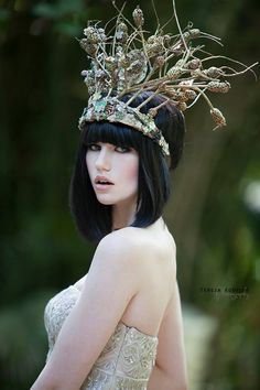 Botanical Crown Designed & created by Lisa Marinucci ~ using natural plants, vintage jewelry components and austrian crystals.~~ Photographer Teresa Koehler I Model Alyena Jaye|Gown Sue Wong| Makeup Justin LaMonte|  Hair Markuz Royal |