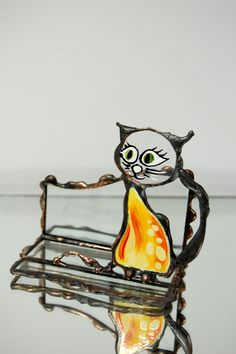 Stained Glass Yellow Cat Phone Holder iPhone Stand Smartphone Stand Desk Organizer