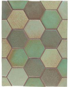 BB96 4'' Oleson Hexagon- Blend 2(Light Copper, Copper, Chrome & Elder Green) Tile Handcrafted in Los Angeles