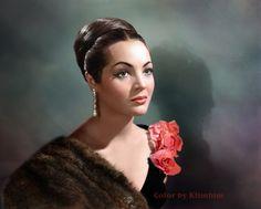 Sara Montiel – Color by Klimbim Vintage Hollywood, Hollywood Glamour, Hollywood Stars, Classic Hollywood, Divas, Spanish Actress, Colorized Photos, Hair Reference, Beautiful Eyes