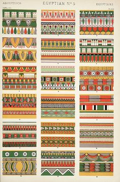 Ancient Egypt ornaments of tombs in Thebes, Karnak. Grammar of Ornament by Owen Jones. Graphic Design Books, Book Design, Graphic Prints, Ancient Egyptian Costume, Egyptian Decorations, Owen Jones, Stoff Design, Egypt Art, Image Plate