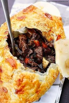 Recipe   Beef & Wine Pot Pie ~ Similar to tying on a sassy French apron, this yummy beef and red wine stew is dressed up in an enticing disguise. Covered over with flaky puff pastry, your slow-simmered Beef Bourguignon is now ready for Sunday dinner! ... #comfort food #St. Patrick's Day