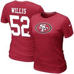 Nike Patrick Willis San Francisco 49ers #52 Women's Replica Name & Number T-Shirt - Scarlet