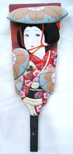 Vintage 1950s lovely Japanese kabuki hagoita paddle