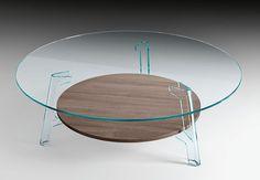 Scopri Tavolino Flute -/ Ø 120 cm, Piano inferiore: Rovere / Trasparente di FIAM, Made In Design Italia