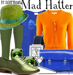 Blue jeans/green pants, orange shirt, blue tshirt layered, mad hatter hat