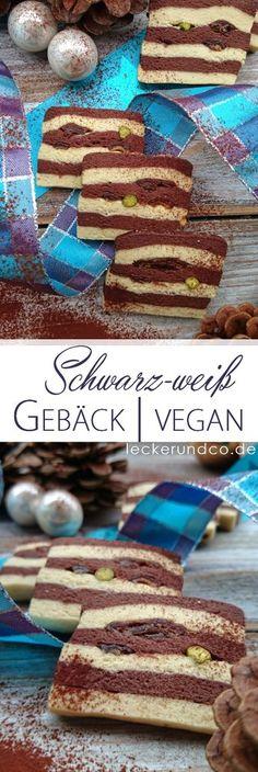 Schwarz-Weiß Gebäck mit Pistazien   vegan Tasty, Yummy Food, Sweets Cake, Recipe Boards, World Recipes, Vegan Sweets, Easy Peasy, Diy Food, Vegan Recipes