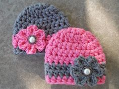 Chunky baby hat twin set for girls - twins photo prop - baby shower gift - bringing baby home - made to order