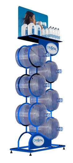 Plastic Bottle Design, Water Bottle Design, Water Packaging, Bottle Packaging, Water Company, Water Logo, Displays, Pop Display, Point Of Purchase