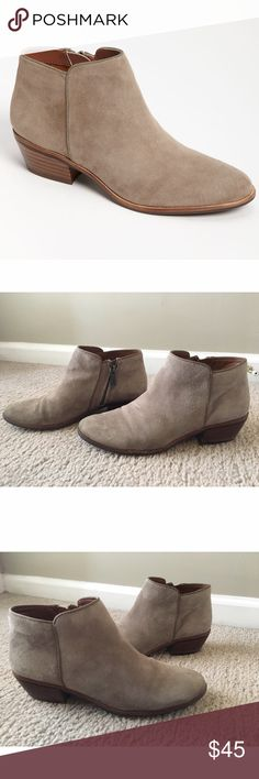 Same Edelman Petty Boot Size 7.5. 1.5 inch heel. Taupe suede that matches any outfit. My favorite Boot! Sam Edelman Shoes Ankle Boots & Booties