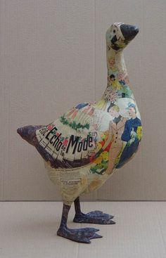 Paper Mache Fashion goose in paper mache by Nicole Jacobs & Aude Goalec
