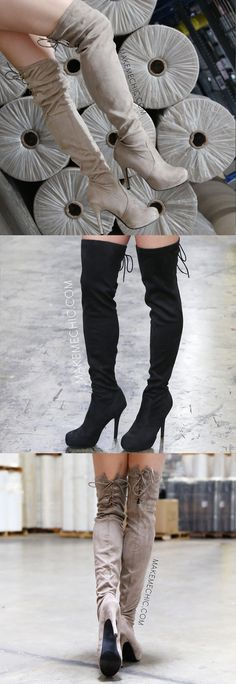 No one can deny that lace up everything has been one of the standout trends of 2015. These thigh high boots take this trend one step further with a classic front design and a surprise sexy lace up detail in when you turn the corner. With its' faux suede exterior and flattering silhouette, this boot could easily be every girl's go-to boot of the season. Pair with a t-shirt dress and floppy hat for a casual day out!