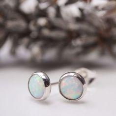 Opal silver stud post earrings