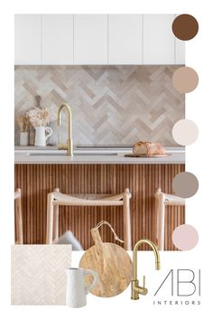 STYLING INSPIRATION— Grounded and coastal, @surfsidesuffolk uses soft terracotta tiles to encapsulate the movement of the ocean. Our Elysian Commercial Pull-Out Kitchen Mixer in Brushed Brass provides a sunny highlight. Kitchen Room Design, Modern Kitchen Design, Bathroom Interior Design, Home Decor Kitchen, Kitchen Interior, Home Kitchens, Room Inspiration, Kitchen Mixer, Decoration