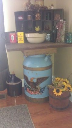 Milk can with table top and primitive decor