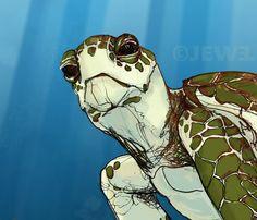 Sea Turtle Illustration  Blue Green Turquoise  by JewelRenee, $14.50