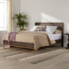 Strick & Bolton Monterey Reclaimed Pine/ Steel Queen Bed Frame (Stone and Stripes Monterey Queen Bed), Brown